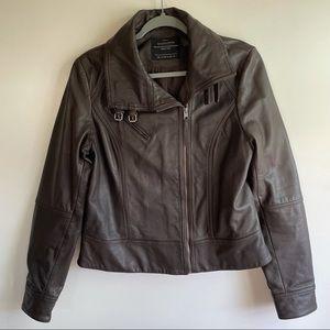 AllSaints Belvedere Brown Leather Biker Jacket US 10